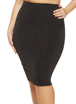 Plus Size Lurex Midi Pencil Skirt - 1962020628464