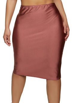 Plus Size Solid Spandex Pencil Skirt - 1962020628724