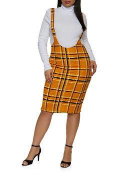 Plus Size Plaid Suspender Skirt - 1962020629334