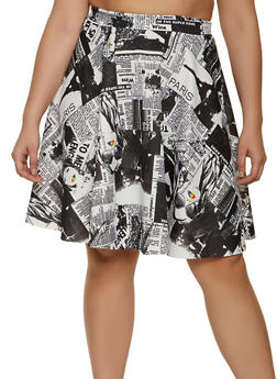 Plus Size Newspaper Print Skater Skirt - 1962020629374