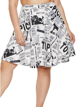 Plus Size Newspaper Print Midi Skater Skirt - 1962020629744
