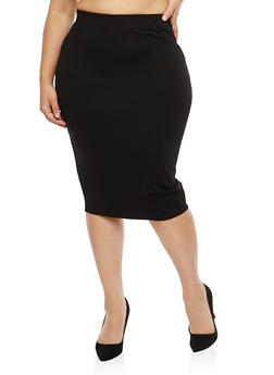 Plus Size Black Pencil Skirt - 1962051063647