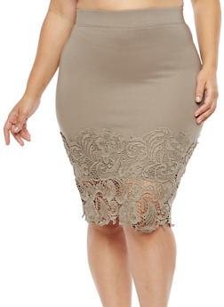 Plus Size Crochet Hem Pencil Skirt - 1962051066473