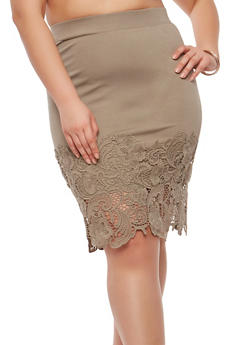 Plus Size Crochet Hem Pencil Skirt - 1962051066473