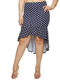Plus Size Polka Dot High Low Skirt - 1962062121500