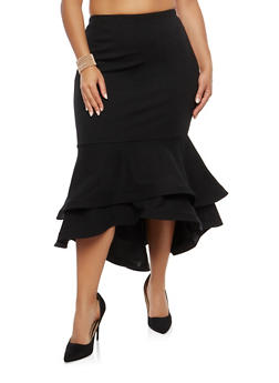 Plus Size Tiered Hem Pencil Skirt - 1962062128276