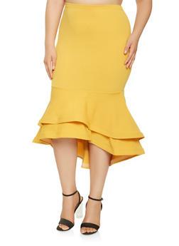Plus Size Tiered Hem Pencil Skirt - 1962062128276