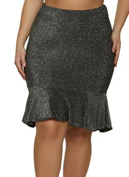 Plus Size Ruffle Trim Lurex Skirt - 1962062411504