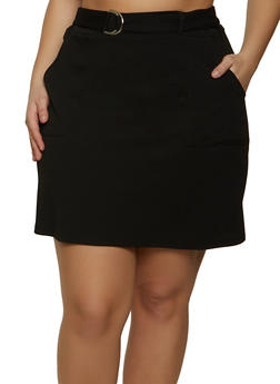 Plus Size Belted Front Crepe Knit Skirt - 1962062411519