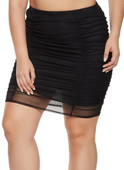 Plus Size Ruched Mesh Pencil Skirt - 1962062415176