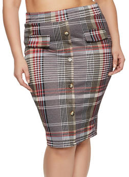 Plus Size Plaid Button Detail Skirt - 1962062415188