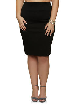 Plus Size Solid Ponte Skirt - 1962062415190