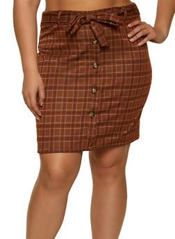 Plus Size Plaid Tie Waist Pencil Skirt - 1962062415194