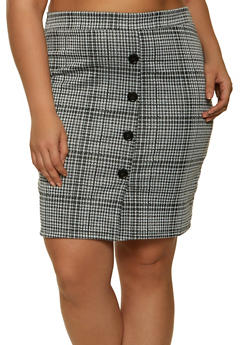 Plus Size Houndstooth Mini Skirt - 1962062415195