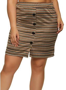Plus Size Houndstooth Mini Skirt - 1962062415195
