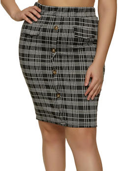 Plus Size Plaid Midi Pencil Skirt - 1962062415196