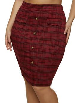 Plus Size Plaid Midi Pencil Skirt - 1962062415196