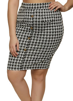Plus Size Houndstooth Button Detail Skirt - 1962062415961
