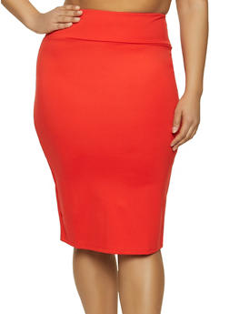 Plus Size High Waisted Ponte Pencil Skirt - 1962062700995