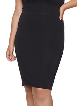 Plus Size Back Slit Pencil Skirt - 1962062709951