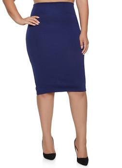 Plus Size Back Slit Pencil Skirt - 1962062709951