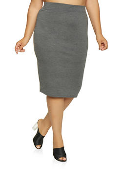 Plus Size Back Slit Pencil Skirt - 1962062709952