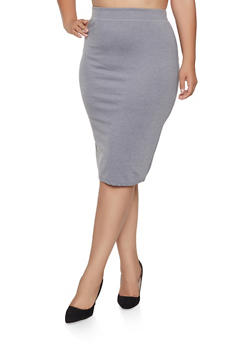 Plus Size Back Slit Pencil Skirt - 1962062709952