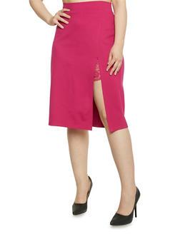 Plus Size Lace Slit Detail Pencil Skirt - MAGENTA - 1962069391043
