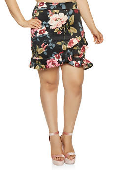 Plus Size Ruffled Floral Pencil Skirt - 1962070473281