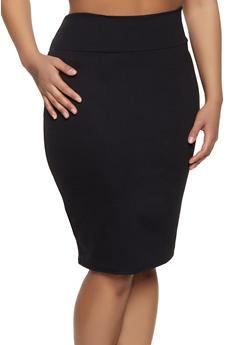 e5b59b4f584 Plus Size High Waisted Ponte Skirt - 1962074011616