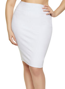 Plus Size High Waisted Ponte Skirt - 1962074011616