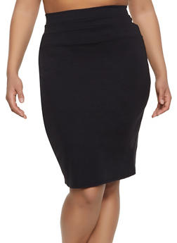Plus Size High Waisted Midi Skirt - 1962074011617