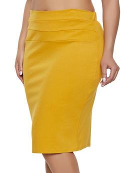 Plus Size High Waisted Midi Skirt - 1962074011617