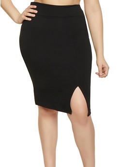 Plus Size Front Slit Pencil Skirt - 1962074011618