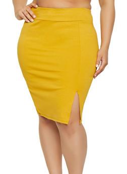 Plus Size Front Slit Pencil Skirt - 1962074011618