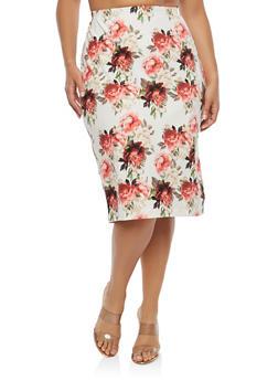 Plus Size Soft Knit Floral Skirt - 1962074286000
