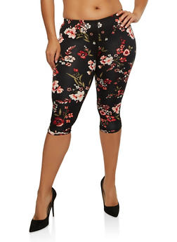 Plus Size Floral Caged Capri Leggings - 1965001440115