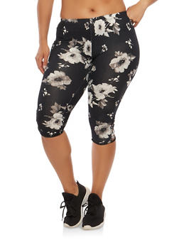 Plus Size Floral Caged Cropped Leggings - 1965001440116