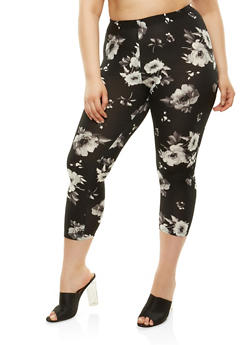 Plus Size Printed Capri Leggings - 1965001441111