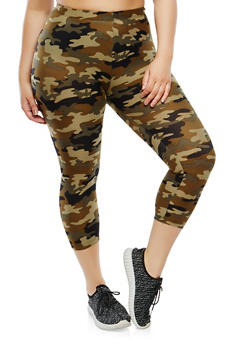 Plus Size Camo Capri Leggings - 1965001441113