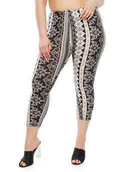 Plus Size Border Print Cropped Leggings - 1965001441119