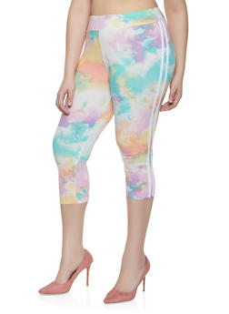 Plus Size Varsity Stripe Tie Dye Capri Leggings - 1965001441120