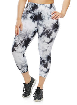 Plus Size Cropped Tie Dye Leggings - 1965001441121