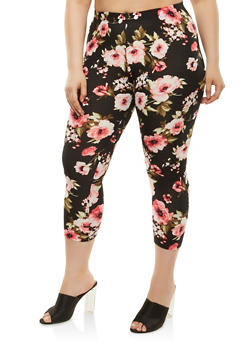 Plus Size Floral Cropped Leggings - 1965001441126