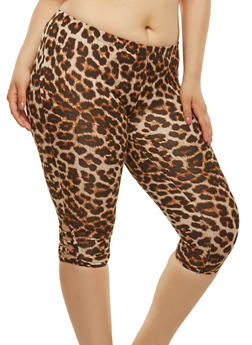 Plus Size Caged Animal Print Leggings - 1965001441171