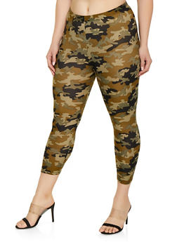 Plus Size Camo Soft Knit Leggings | 1965001441205 - OLIVE - 1965001441205