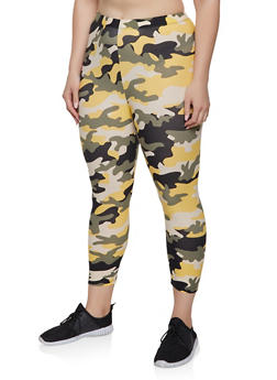 Plus Size Camo Soft Knit Leggings | 1965001441205 - MUSTARD - 1965001441205