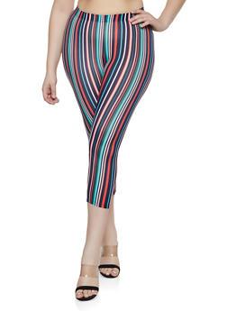 Plus Size Striped Cropped Leggings - 1965001442269