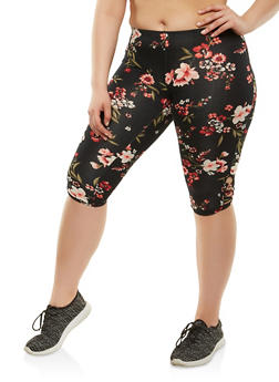Plus Size Soft Knit Capri Leggings - 1965001447014