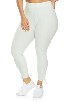 Plus Size Drawstring Side Leggings - 1965061632759
